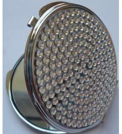 Kosmetické zrcátko - kulaté s drobnými stříbrnými krystaly